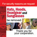 "Robbery Prevention – ""NO HAT"" Signs (CLING)"