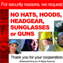 "Robbery Prevention – ""NO GUNS"" Signs (CLING)"