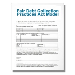 Fair Debt Collection Practices Act Model Forms Template