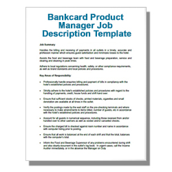 Bankcard Product Manager Job Description Template - Click Image to Close