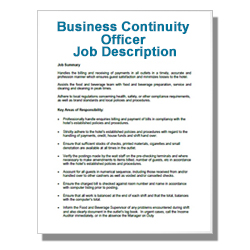 Business Continuity Officer Job Description
