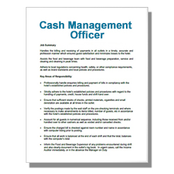 Cash Management Officer