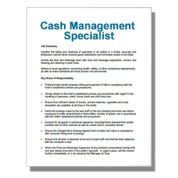 Cash Management Specialist