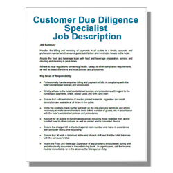 Customer Due Diligence Specialist Job Description