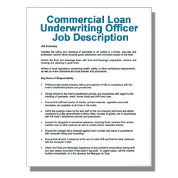 Commercial Loan Underwriting Officer Job Description