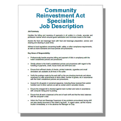 Community Reinvestment Act Specialist Job Description
