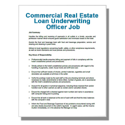 Commercial Real Estate Loan Underwriting Officer Job Description - Click Image to Close
