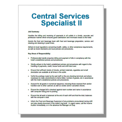 Central Services Specialist II