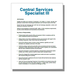 Central Services Specialist III
