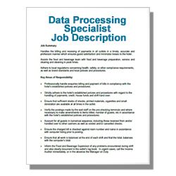 Data Processing Specialist Job Description