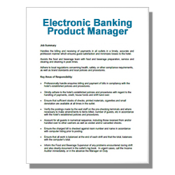 Electronic Banking Product Manager