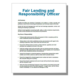 Fair Lending and Responsibility Officer