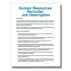 Human Resources Recruiter Job Description