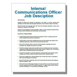 Internal Communications Officer Job Desciption