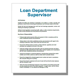 Loan Department Supervisor
