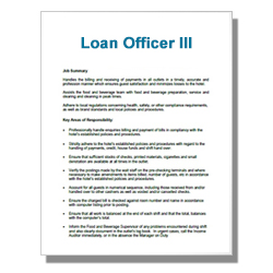 Loan Officer III