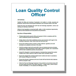 Loan Quality Control Officer