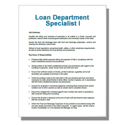 Loan Department Specialist I - Click Image to Close