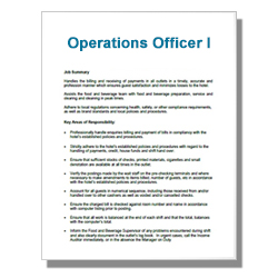 Operations Officer I