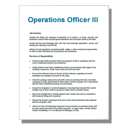 Operations Officer III