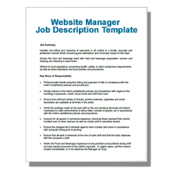 Website Manager Job Description Template