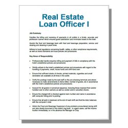 Real Estate Loan Officer I