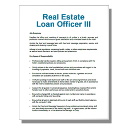 Real Estate Loan Officer III