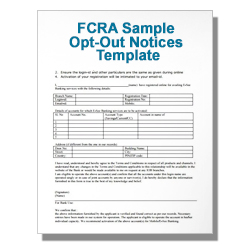FCRA Sample Opt-Out Notices Template
