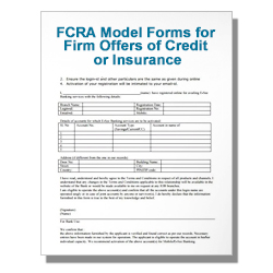 FCRA Model Forms for Firm Offers of Credit or Insurance Template