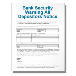 Bank Security Warning All Depositors Notice