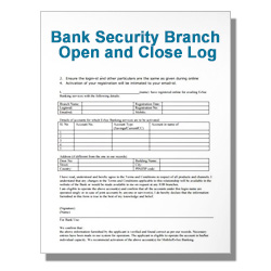 Bank Security Branch Open and Close Log