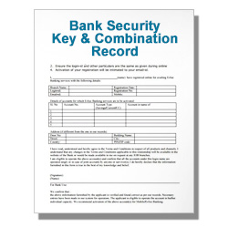 Bank Security Key and Combination Record