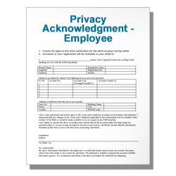 Privacy Acknowledgment - Employee