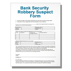 Bank Security Robbery Suspect Form