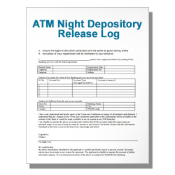 ATM Night Depository Release Log