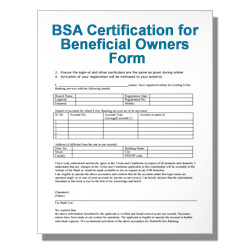 BSA Certification for Beneficial Owners Form