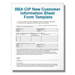BSA CIP New Customer Information Sheet Form Template