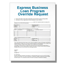 Express Business Loan Program Override Request