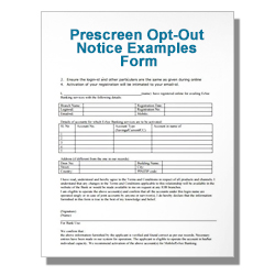 Prescreen Opt-Out Notice Examples Form