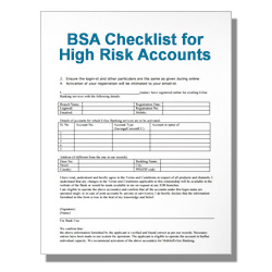 BSA Checklist for High Risk Accounts