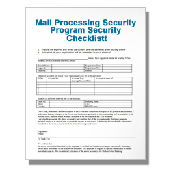 Mail Processing Security Program Security Checklist