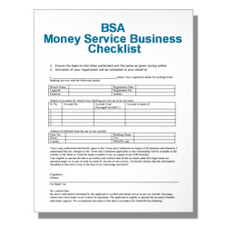 BSA Money Service Business Checklist