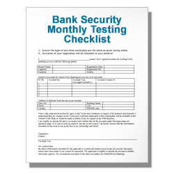 Bank Security Monthly Testing Checklist