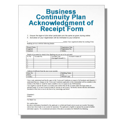 Business Continuity Plan Acknowledgment of Receipt Form Template