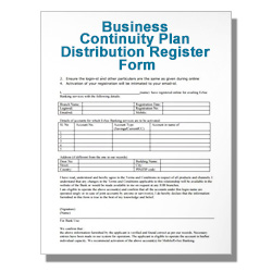 Business Continuity Plan Distribution Register Form Template