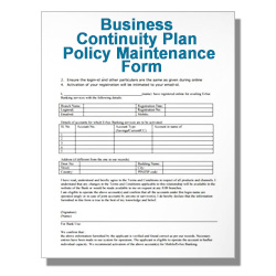 Business Continuity Plan Policy Maintenance Form