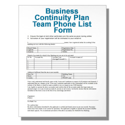 Business Continuity Plan Team Phone List Form