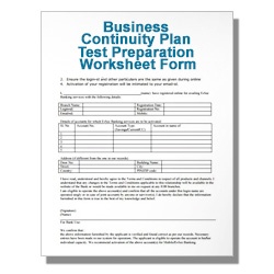 Business Continuity Plan Test Preparation Worksheet Form