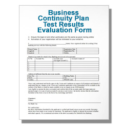 Business Continuity Plan Test Results Evaluation Form