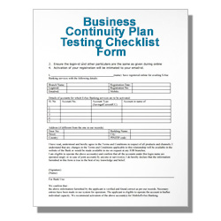 Business Continuity Plan Testing Checklist Form